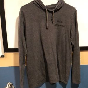 Grey Hooded Long Sleeve T Shirt